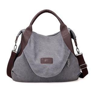 Handbags - City Canvas Crossbody Bag-Grey